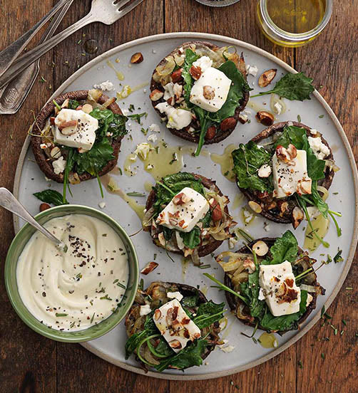Feta stuffed portobello mushrooms