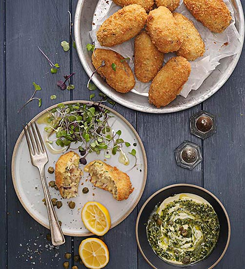 Cheesy potato & smoked fish croquettes