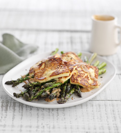 Barbecued Haloumi & Asparagus with Sesame Dressing